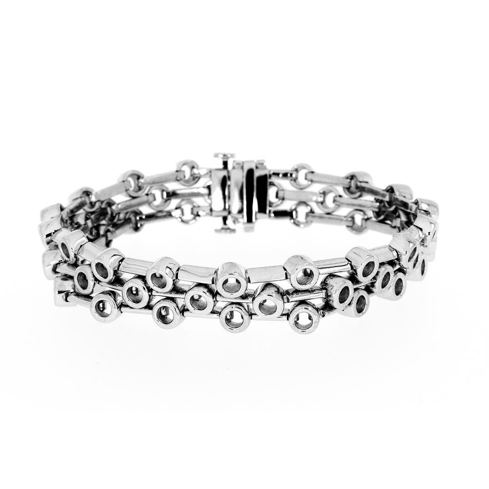 View THREE ROW BEZEL BAR BRACELET